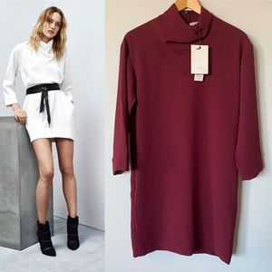 "NWT IRO ""Diane"" Burgundy draped turtleneck Dress"